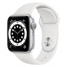 Apple Watch SE GPS + Cellular 40mm Silver Aluminium Case With White Sport Band (MYEF2)